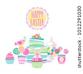 colorful easter sweets icons... | Shutterstock .eps vector #1012291030