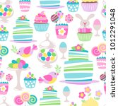 colorful easter sweets icons... | Shutterstock .eps vector #1012291048