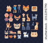 cat set. flat pixel art 80s... | Shutterstock .eps vector #1012293790