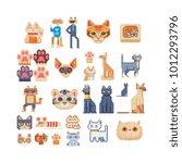 cat set. pixel art 80s style... | Shutterstock .eps vector #1012293796