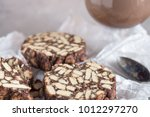 pieces of chocolate cake from... | Shutterstock . vector #1012297270