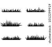 set of black grass silhouettes. ...   Shutterstock .eps vector #1012299919