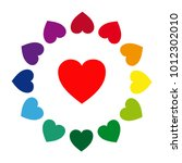 colorful hearts in a circle | Shutterstock .eps vector #1012302010