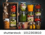 food prepping vegetarian food... | Shutterstock . vector #1012303810