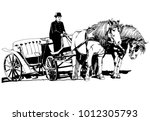 carriage with horses... | Shutterstock .eps vector #1012305793