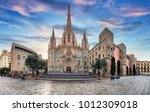 barcelona cathedral  spain | Shutterstock . vector #1012309018