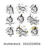 big set of vector cute doodles... | Shutterstock .eps vector #1012310026