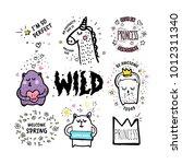 big set of vector cute doodles... | Shutterstock .eps vector #1012311340