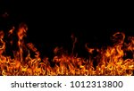 fire flames on black background. | Shutterstock . vector #1012313800