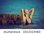 pretty beautiful woman in white ... | Shutterstock . vector #1012315483