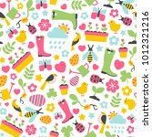 seamless pattern with spring... | Shutterstock .eps vector #1012321216