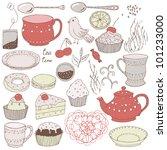 Love Tea Set With Tea Drinking...