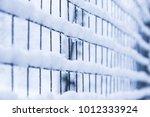 mesh in winter on nature in... | Shutterstock . vector #1012333924