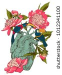 human heart with flowers | Shutterstock .eps vector #1012341100