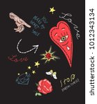 trend patch with heart  roses ... | Shutterstock .eps vector #1012343134