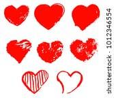 set of grunge hearts on white... | Shutterstock .eps vector #1012346554