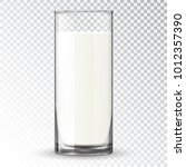 milk in a glass. dairy product... | Shutterstock .eps vector #1012357390