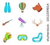 beach hobby icons set. cartoon...   Shutterstock .eps vector #1012359814