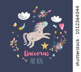 cute unicorn greeting card.... | Shutterstock .eps vector #1012364344