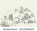 pastoral site in the mountains. ... | Shutterstock .eps vector #1012364623