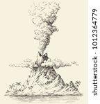 active volcano drawing.... | Shutterstock .eps vector #1012364779