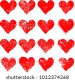 set of hearts . grunge stamps... | Shutterstock .eps vector #1012374268