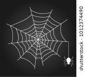 a web with a spider. white web... | Shutterstock .eps vector #1012374490
