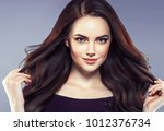 beautiful hairstyle female with ... | Shutterstock . vector #1012376734