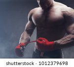 close up of a strong boxer... | Shutterstock . vector #1012379698