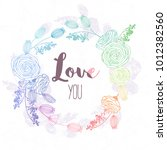 hand drawn floral wreath in... | Shutterstock .eps vector #1012382560