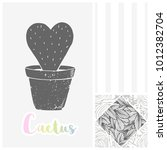 hand drawn greeting card with... | Shutterstock .eps vector #1012382704