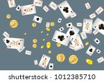 casino playing cards and money... | Shutterstock .eps vector #1012385710