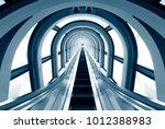 futuristic tunnel and escalator ... | Shutterstock . vector #1012388983