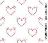 read hearts doodle pattern... | Shutterstock .eps vector #1012389580