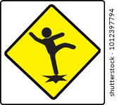 beware slip sign  caution... | Shutterstock .eps vector #1012397794