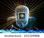 Collage of human head, scientific formulas and various abstract elements on the subject of artificial intelligence, modern science, computer technology and human and artificial mind - stock photo