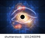 Composition of eye outlines, fractal and abstract design elements on the subject of modern technologies, mechanical progress, artificial intelligence, virtual reality and digital imaging - stock photo