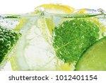 lemon drop in fizzy sparkling... | Shutterstock . vector #1012401154