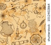 seamless pattern with globe ... | Shutterstock .eps vector #1012402864