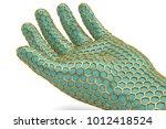 gold hexagon mesh hand on white ... | Shutterstock . vector #1012418524