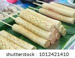 pork sausage with green bamboo... | Shutterstock . vector #1012421410