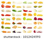 sliced various fruits and... | Shutterstock .eps vector #1012424593