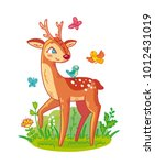 cute deer with antlers standing ... | Shutterstock .eps vector #1012431019