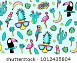seamless pattern with fashion... | Shutterstock .eps vector #1012435804