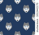 husky dog seamless pattern in... | Shutterstock .eps vector #1012442170