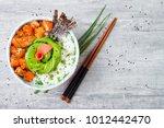 hawaiian salmon poke bowl with... | Shutterstock . vector #1012442470