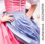 Small photo of School girls hands put in waist closeup while dancing folklore dances in period costumes in UNESCO protected site Cesky Krumlov, Czech Republic. Blue red white tricolor dress in national flag colors.