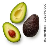 whole and cut in half avocado... | Shutterstock . vector #1012447000