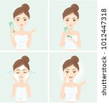 lady washing with whip foam.... | Shutterstock .eps vector #1012447318