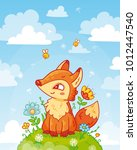 cute fox sitting on a hill with ... | Shutterstock .eps vector #1012447540